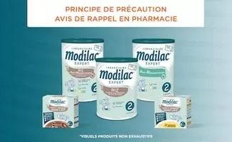 Rappel de Lait Modilac, produits laitiers et Picot AR