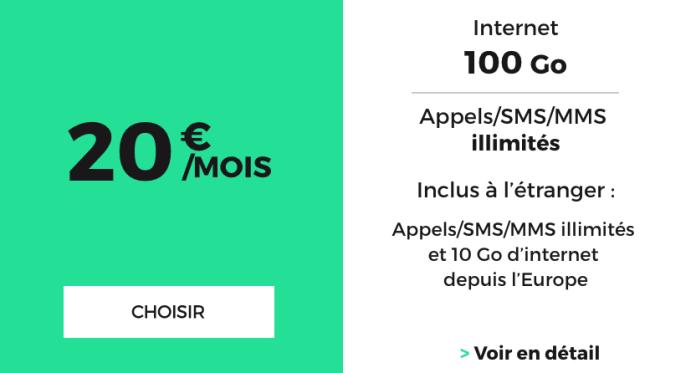 Le forfait pas cher pour 100 Go proposé par RED par SFR