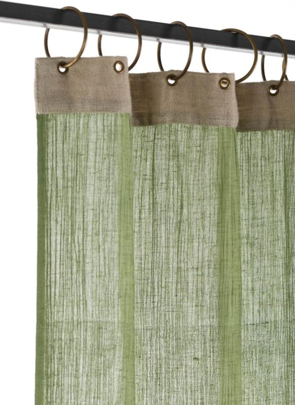crepon voilage en coton vert