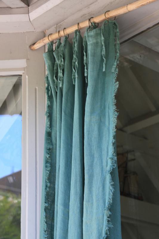 double voilage en lin celadon