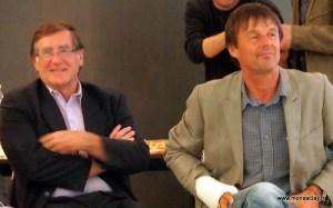 Christian Page et Nicolas Hulot à Saclay