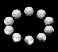 "In July 2015, the cameras on NASA's New Horizons spacecraft captured Pluto rotating over the course of a full ""Pluto day."" The best available images of each side of Pluto taken during approach have been combined to create this view of a full rotation. NASA/Johns Hopkins University Applied Physics Laboratory/Southwest Research Institute"