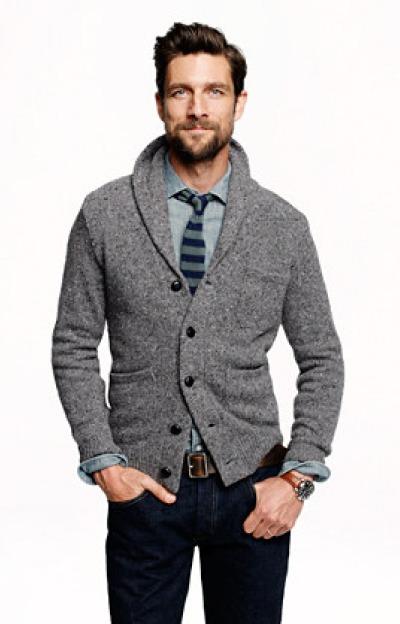 Look cardigan gris chemise boulot