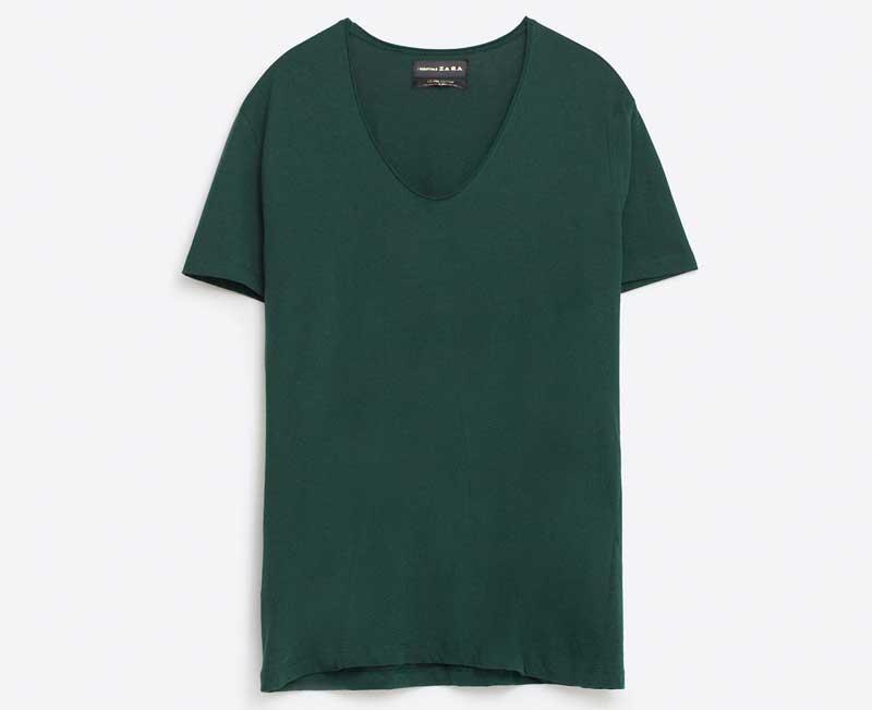 t shirt échancré vert zara