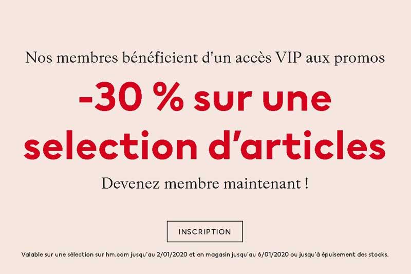 Vente privées VIP H&M avant les soldes hiver