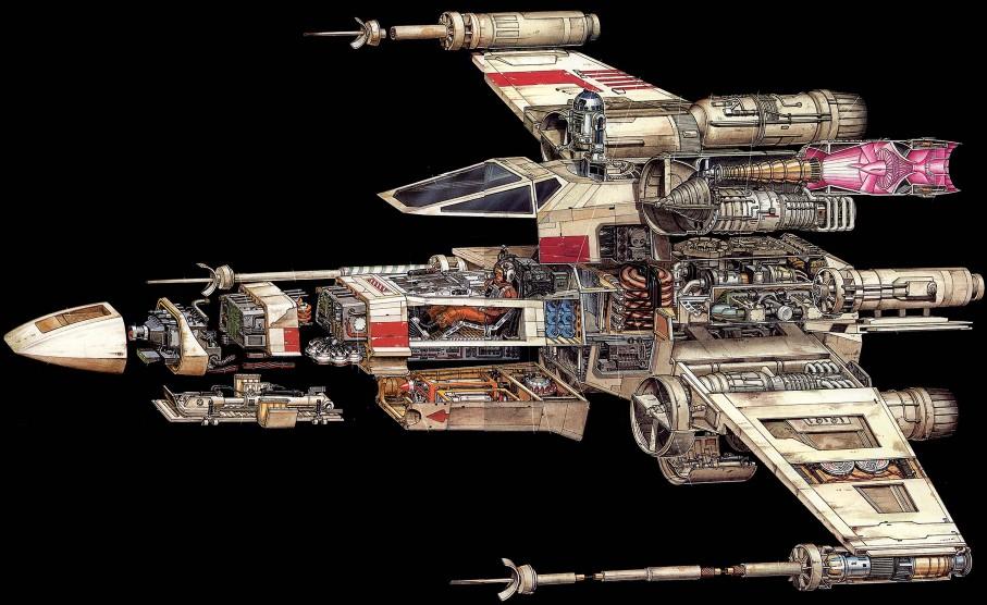 Coupe d'un X-Wing