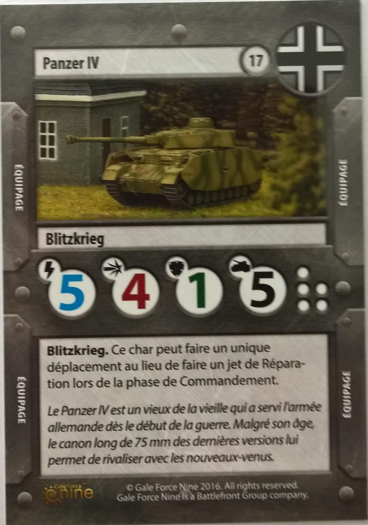 TANKS - Carte du panzer IV