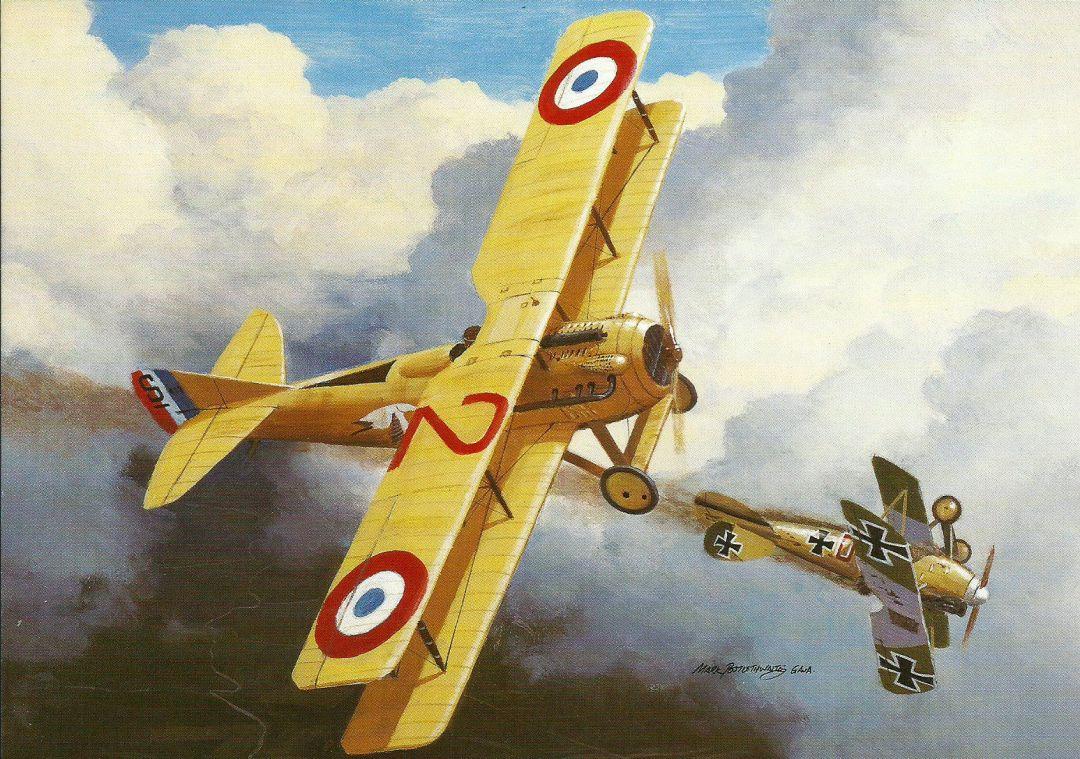 Le Spad VII de Guynemer aux prises avec un Albatros