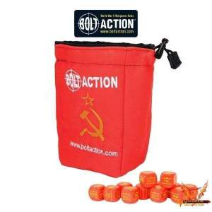 Bolt Action Soviet Dice Bag & Order Dice (Red)