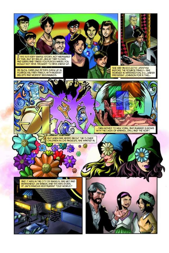 "The journey of Charlene Peters (Isis) from DC to NYC to LA,  as ""illustrated"" in the Father Yod and the Source Family comic (Bluewater Prod.)"