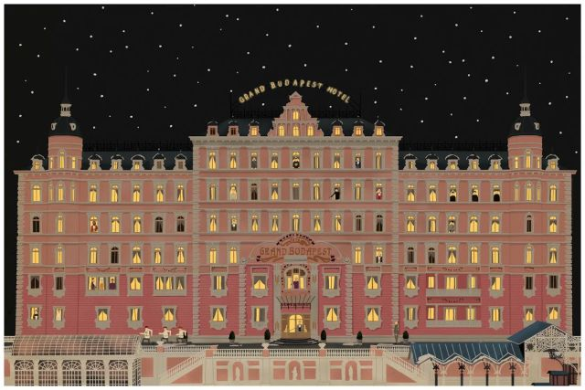 "Max Dalton ""The Grand Budapest Hotel"" fine art giclee signed and numbered hand embellished with glow in the dark paint edition of 5 24"" x 36"" $500"