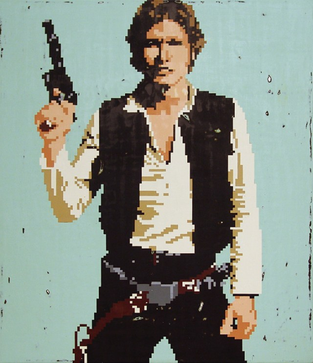 "Hollis Brown Thornton ""Hans Solo"" acrylic on canvas 26"" X 30"""