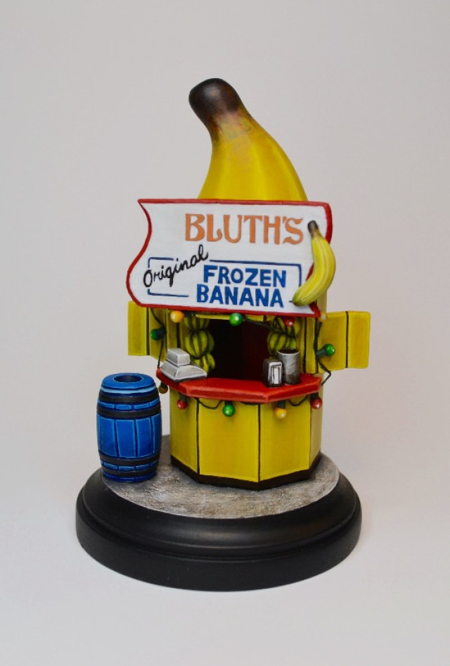 "JARED CIRCUSBEAR ""The Banana Stand"" wood, epoxy, and acrylic 3 x 5 inches"
