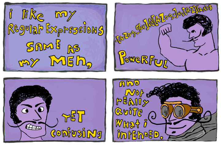 I like my regular expressions same as my men, powerful, yet confusing, and not really quite what I intended.