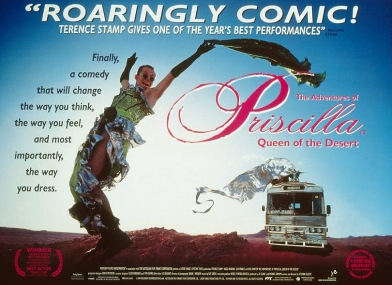 Movie poster for The Adventures of Priscilla, Queen of the Desert