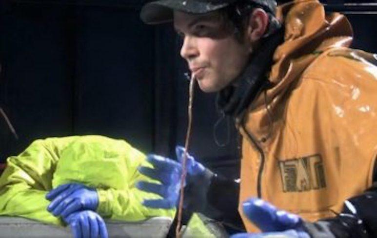 Deckhand swallowing cod intestines on Deadliest Catch