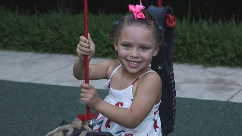 Riley Curry plays on her new swing