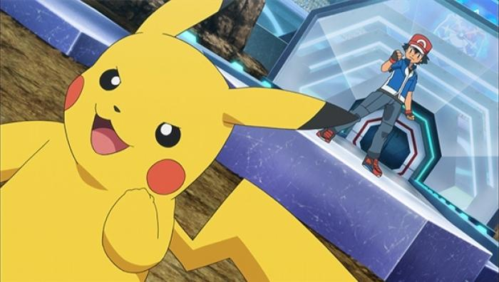 A screengrab of Pikachu with Ash in Pokemon