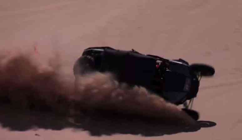 The dune buggy begins its high-speed barrel-roll in the Glamis dunes