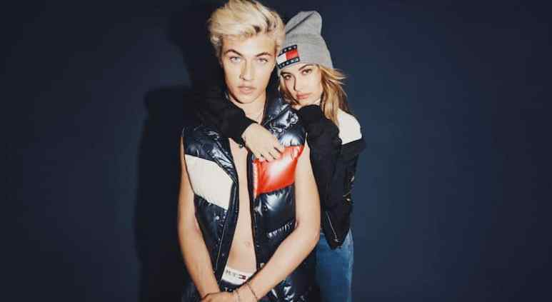 Lucky Blue Smith and Hailey Baldwin in the fall 2016 Tommy Jeans campaign
