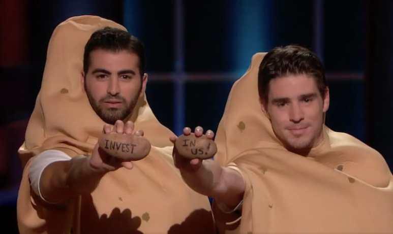 Potato Parcel owner Riad Bekhit, left, on Shark Tank
