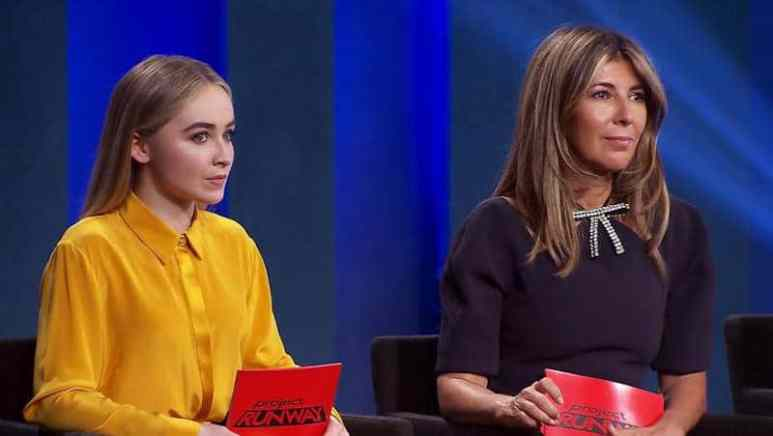 Sabrina Carpenter with judge Nina Garcia on this week's Project Runway
