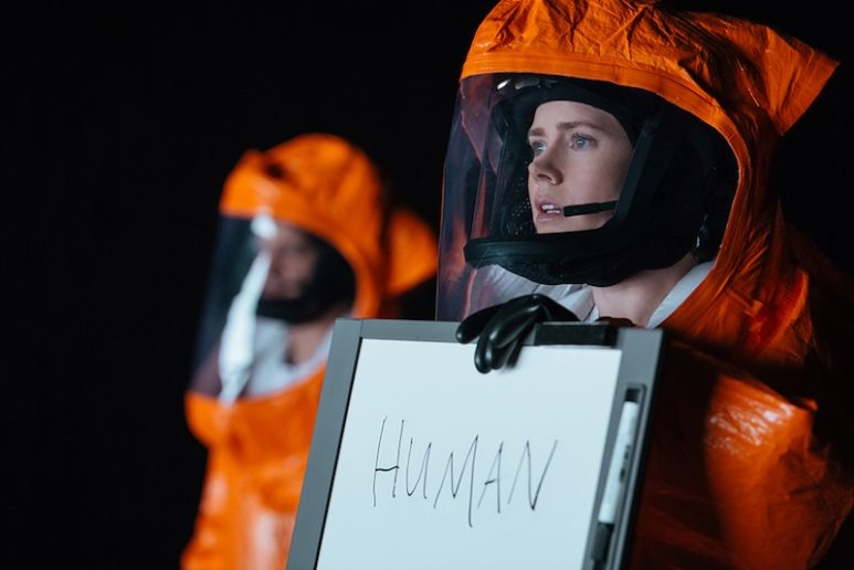 Amy Adams, right, as Louise Banks in Arrival by Paramount Pictures
