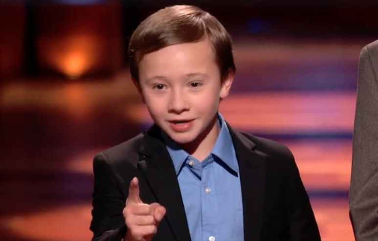 Jack, 10, making his pitch to the sharks on this week's episode of Shark Tank