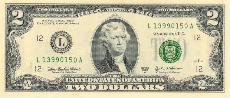 Jefferson on a $2 bill