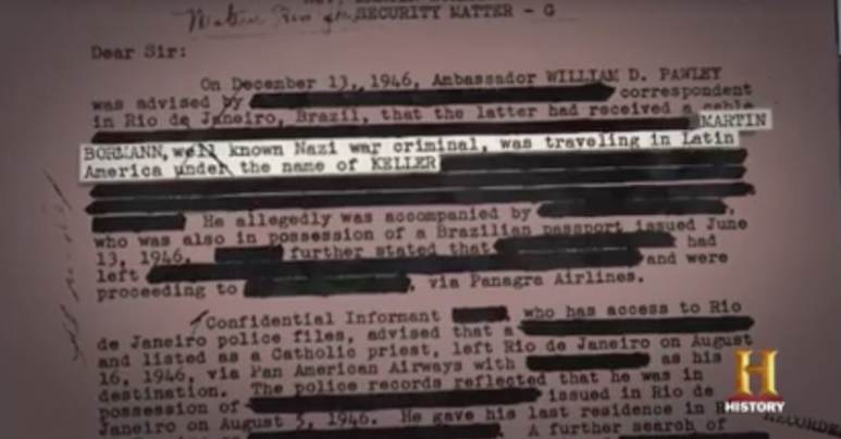 The declassified document which reveals the claim about Bormann using Keller as a name