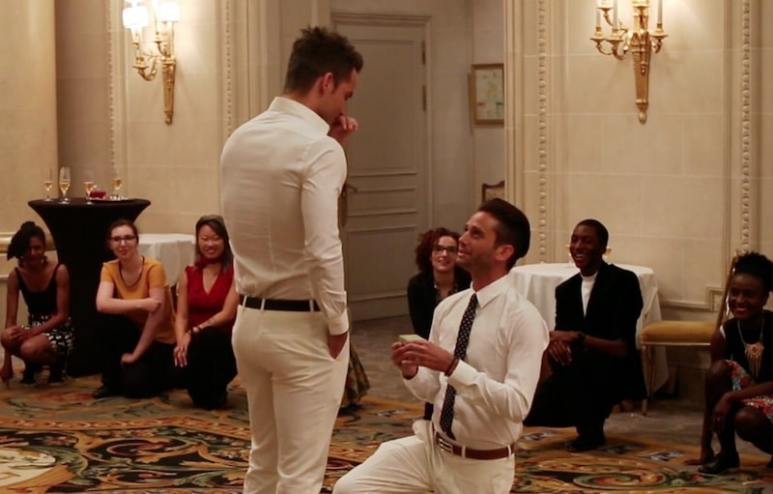 Josh Flagg pops the question to Bobby Boyd after the flash mob in Paris
