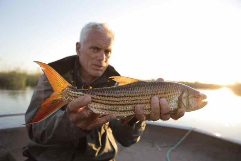 Jeremy holds up a tiger fish