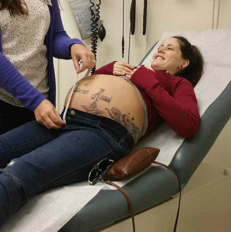 Jenelle looking heavily pregnant in a photo taken by David