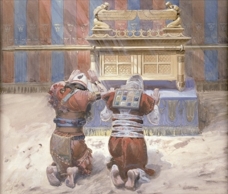 Moses and Joshua bow before the Ark of the Cevenant in this James Tissot painting