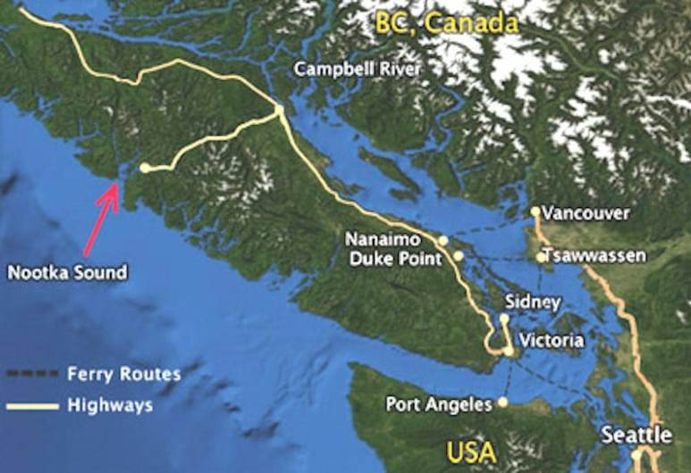 An image showing the location of Nootka Sound on Vancouver Island