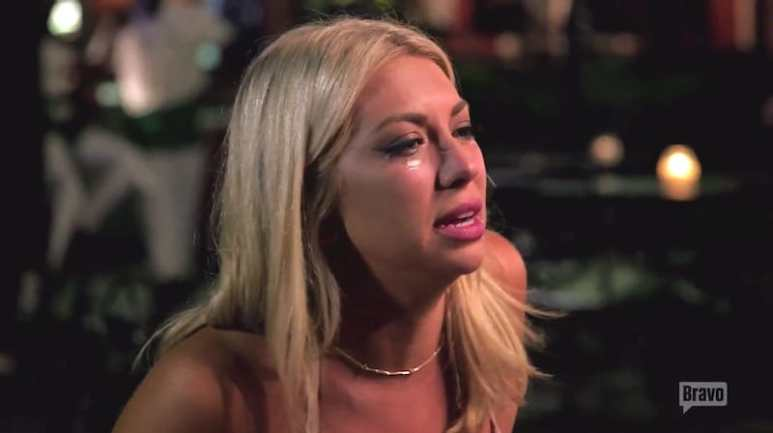 Stassi, also in tears, as she talks to Jax in front of his current girlfriend Brittany