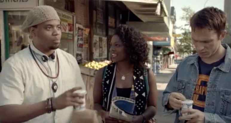 Three friends meet on the street to talk Hip Hop
