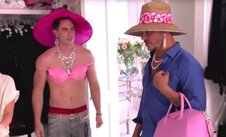 Tom Sandoval and Jax Taylor as they try on Lisa Vanderpump's clothes