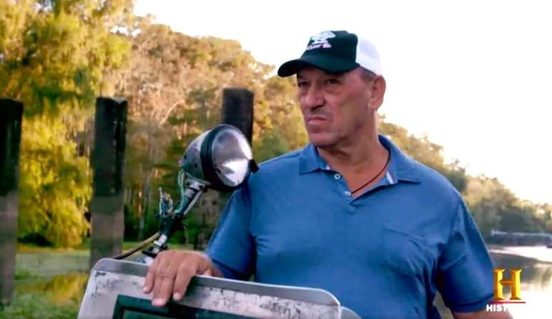Troy Landry doing what he does best —hunting gators in Season 8 of Swamp People on History