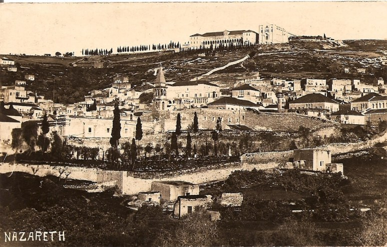 Nazareth seen in an old post card before modern development made it unrecognisable as a small village