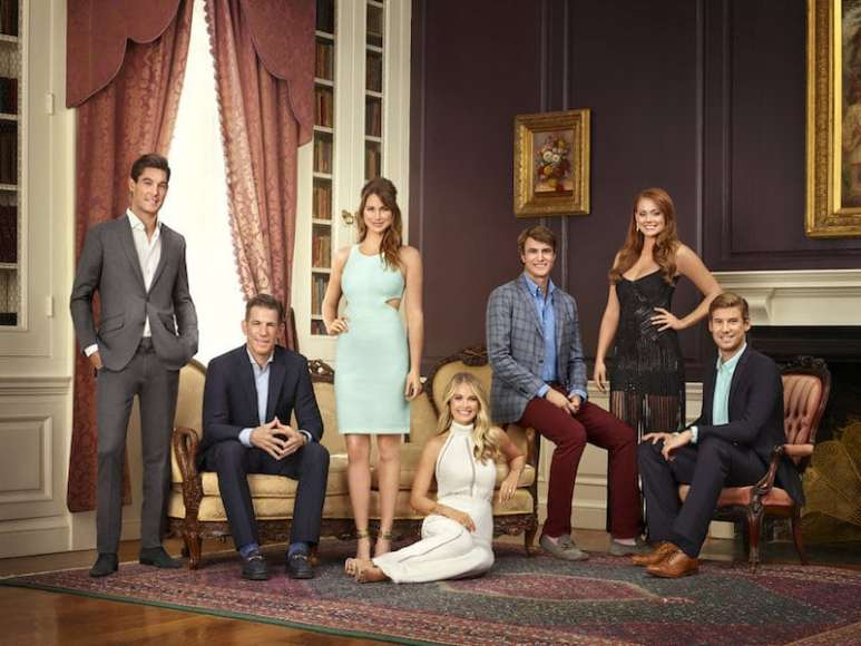 The cast of Southern Charm Season 4: Craig Conover, Thomas Ravenel, Landon Clements, Cameran Eubanks, Shepard Rose, Kathryn Calhoun Dennis, and Austen Kroll