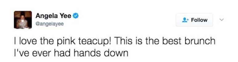 Angela Yee's tweet about the Pink Tea Cup