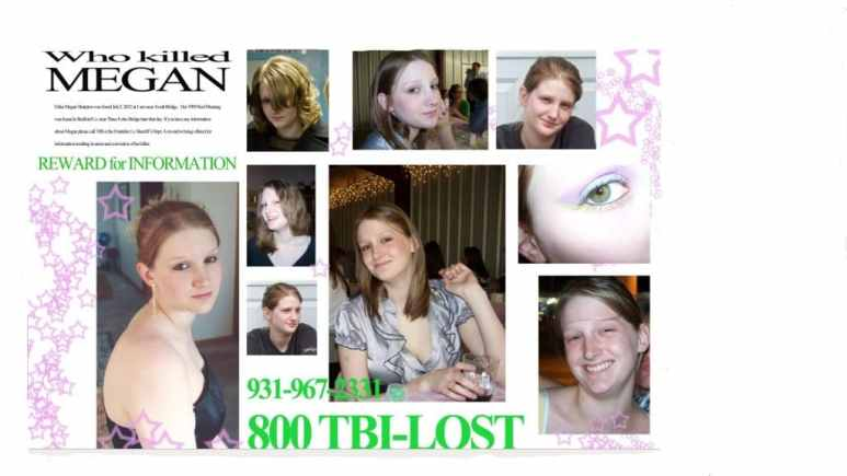 A poster from the time of Megan Sharpton's murder