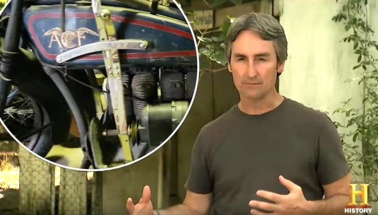 Mike and the rare Ace motorcycle the guys come across on the American Pickers premiere