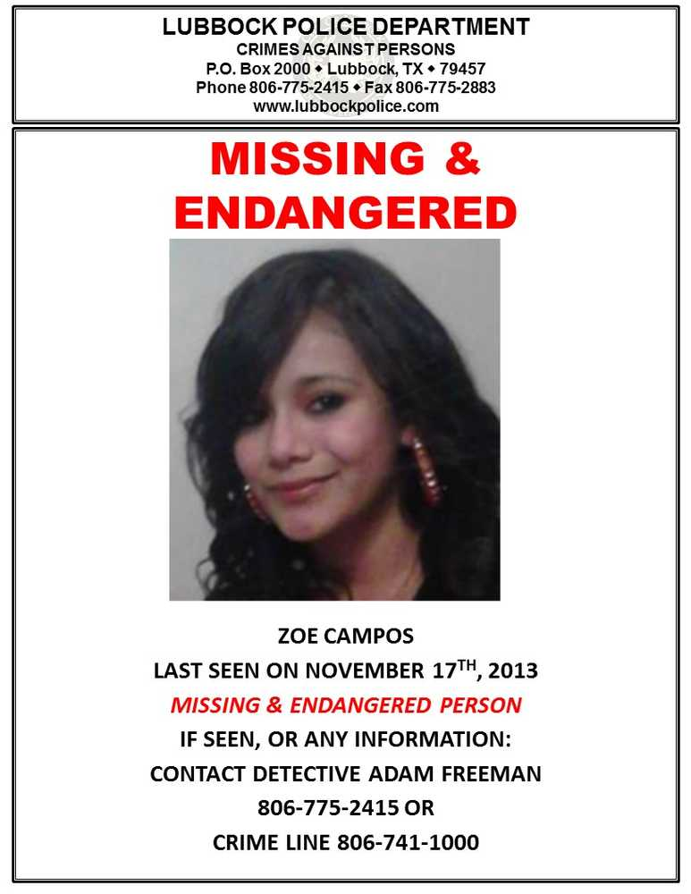 Zoe Campos police flyer, the case is still open