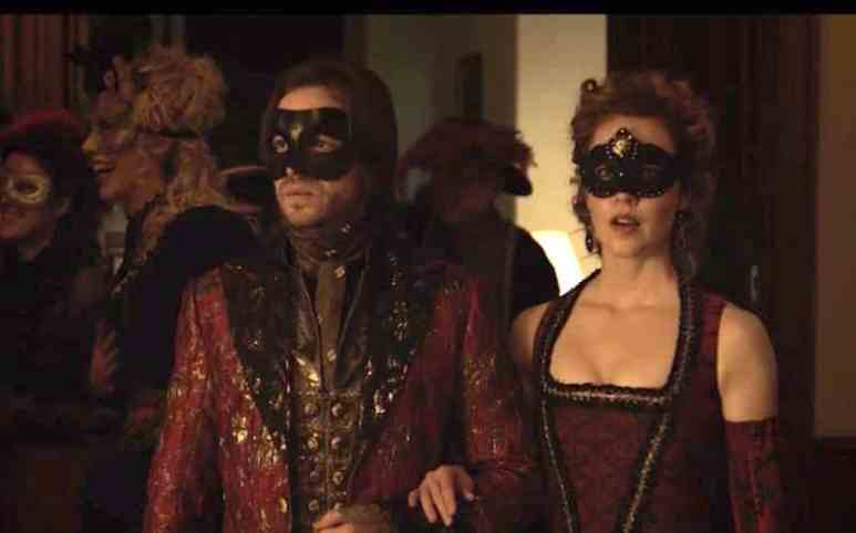 Cole and Cassandra dressed for a masked ball on 12 Monkeys
