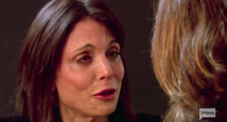 Bethenny Frankel crying as she talks to Luann de Lesseps on The Real Housewives of New York City