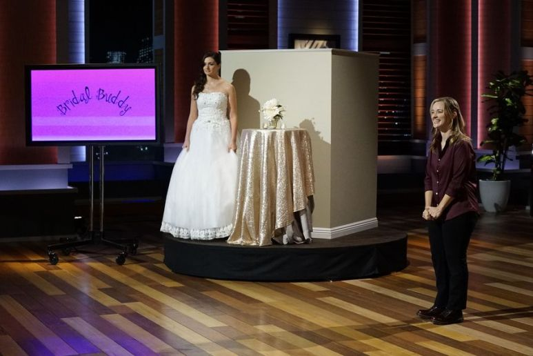 Bridal Buddy founder Heather Stenlake with a model in a gown on Shark Tank