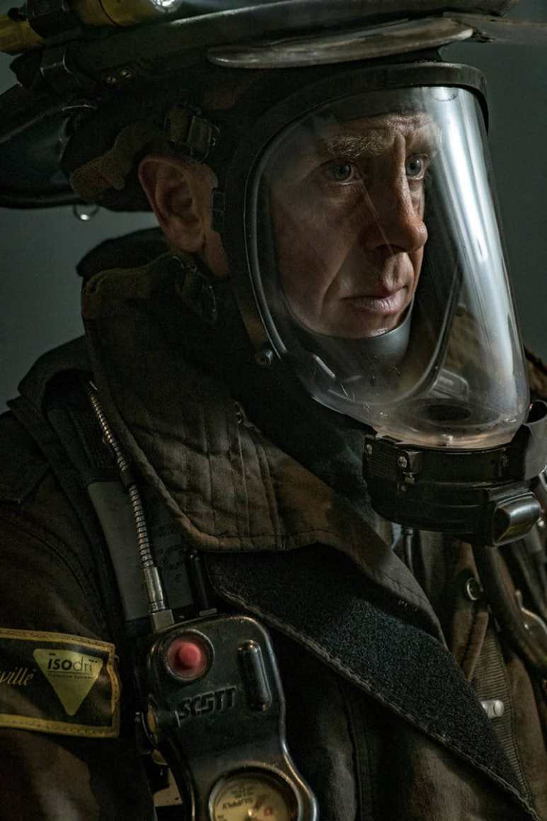 A close-up of Christopher Herrmann in all his gear