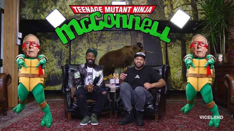 Desus Nice and Kid Mero, with a TMNT logo and pictures of Mitch McConnell made up as a ninja turtle
